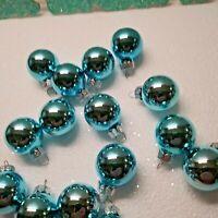 15 Aqua Glass Christmas Feather Tree Ornament Balls Beach Coastal Peacock Decor