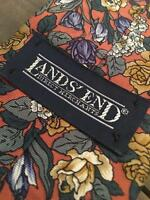 land's end pink yellow purple green floral long classic silk mens neck tie