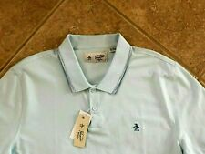 Original Penguin Spaced-Dyed Tipped Polo Shirt Mens XL Light Blue w/ Logo NWT