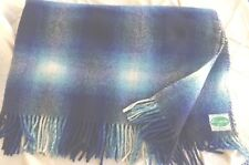 Vintage Wool Rug Blanket Connemara Ireland Blue Plaid w Fringe 68x61