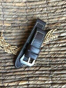 Handmade brown ammo leather strap for Panerai with GPF buckle 27,26, 24,22mm