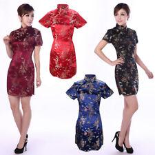 Damen Mini Kurzärmliges Kleid Chinesisch China/Qipao/Geisha/Kostüm Cheongsam