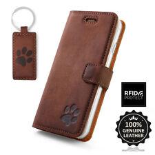 SURAZO® Echtes Leder Handy RFID-Blocking Wallet Case Etui Schutzhülle mit Pfote