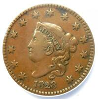1828 Coronet Matron Large Cent 1C (Large Date) - ANACS VF35 - Rare Coin!