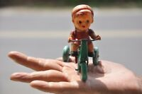 Vintage Wind Up Boy On Tricycle Litho Tin & Celluloid Toy, Japan?