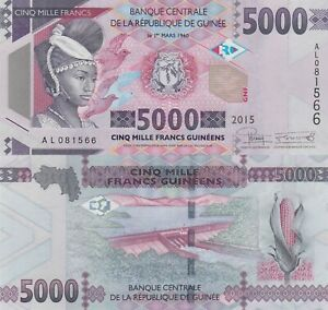 Guinea 5000 Francs (2015) - Tribal Woman/Hydro Dam/p49 UNC