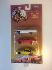 New THE DUKES OF HAZZARD 3 Vehicle Set RARE General Lee Dodge Charger with flag