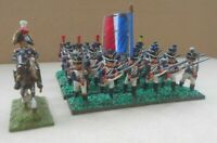 MINIATURE FIGURINES Napoleonic 24 x 25mm French Infantry & General Metal painted