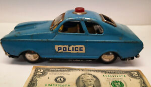 Vintage 1960s rare MF 238 tin toy POLICE car friction China working well