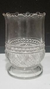 """ANTIQUE EAPG PRESSED GLASS 5"""" FOOTED SPOONER BEADED DIAMOND FAN"""