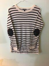 J CREW striped leather-panel swing sweater C9220 Black White XS Merino Wool