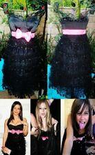 Betsey Johnson Vintage Dress Corset Top Sequin Ruffle Layered Lace Black 2 S