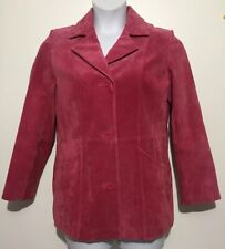 Dialogue Women's Suede Pink Coat Jacket Blazer Size Small