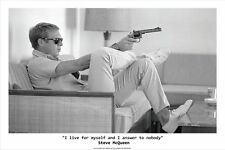 STEVE MCQUEEN - I LIVE FOR MYSELF QUOTE - FINE ART PRINT POSTER 13x19 - VINT2002