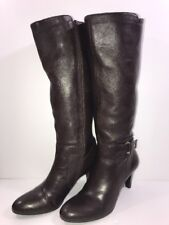 Antonio Melani Nicole Women's Brown Leather Zip Up Knee Boots 9.5M