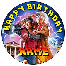 """BACK TO THE FUTURE PARTY - 7.5"""" PERSONALISED ROUND EDIBLE ICING CAKE TOPPER"""