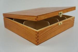 Wooden Tea Box Tea Bag Chest  12 Compartment Tea Caddy Kitchen Laquered H12o