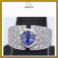 BRILLIANT TANZANITE RING 14K GOLD & DIAMONDS LARGE COCKTAIL ring SIZE 9 (md 18)