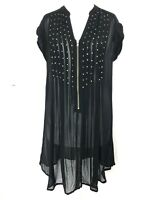 MINT VELVET Black Semi Sheer Extra Long Tunic Lagenlook Smock Embellished Top 10