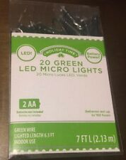20 LED Battery Powered LED Micro Lights Green Wire - Green Lights- Christmas