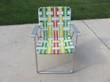 Vtg Folding Aluminum Nylon Webbed Patio Lawn Chair Green, Orange,Yellow & White