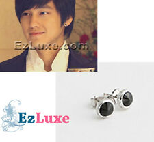Korean boys over before flowers Kim Bum Round Earrings stud black grey simple