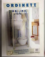 Single Wardrobe Canvas Wood Storage Closet Blue Striped Ordinett NEW RRP £95