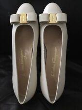 Salvatore Ferragamo 7C Vara Bow Shoes  Leather Ivory - NWOB