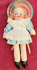 1950's painted cloth doll with dress with white apro and Hat made in the 1950's