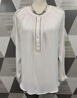Ann Taylor Women's Size S White Scoop neck Long Sleeve top Blouse #10C6