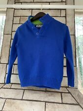 H&M Boys Ragg Blue 100% Cotton Button Neck Long Sleeve Sweater Size Small 6-7
