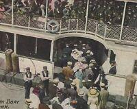 Coney Island Manhattan NY Iron Steamboat Cetus Dock Crowd Postcard c1910