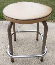 VINTAGE SMALL SHORT METAL VINYL COVERED PADDED INDUSTRIAL KITCHEN STOOL