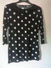 George lovelyu black jersey tunic top with white spots pattern. ruffle collar 10