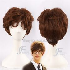 HOT Dark Brown Short Wave Curly Cosplay Wig Full Hair Natural Brown Man's Wigs