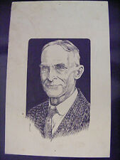 Original Signed matthew c caine Listed Pen & Ink Drawing Sketch Henry Ford