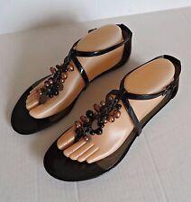 Elie Tahari $278 Black Patent Leather Gladiator Strap Sandals Shoes Size 10M NEW