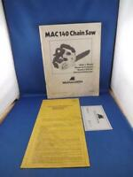 MCCULLOCH CHAIN SAW MAC 140 INSTRUCTION BOOK MANUAL 1977 WARRANTY PACKED BY CARD