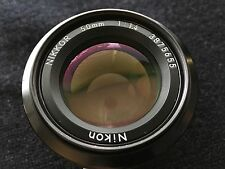 Nikon NIKKOR 50mm F1.4, with HR-1 hood- Excellent!!- With Leather Case