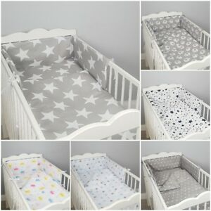 3 pc LUXURY COT/COT BED BABY BEDDING SET bumper quilt pillowcase GREY PINK STARS