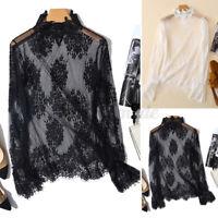 Mode Femme Party Sheer Manche Longue Couture en Dentelle Col roulé Shirt Haut
