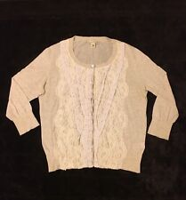 Women's BANANA REPUBLIC Size Medium Beige Cardigan with Lace Front Overlay