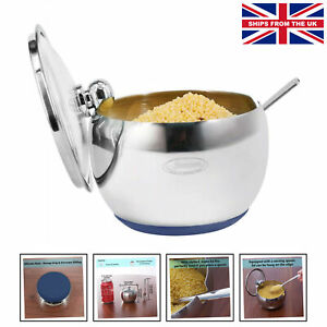 Newness Sugar Bowl, Stainless Steel Sugar Bowl wi.... [240 ML,(8.1 OZ OR 1 CUP)]