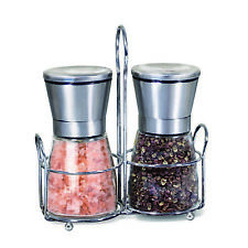 Salt and Pepper Mill Set with Stainless Stand, Adjustable Coarseness set of 2