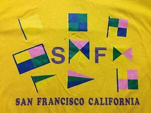 Vintage San Francisco California Large T Shirt Soft Thin Trolley Regatta Flag