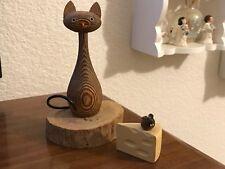 "VINTAGE CRYTOMERIA MID CENTURY Old Wood CAT & MOUSE ON CHEESE Netsuke Figure 6"""