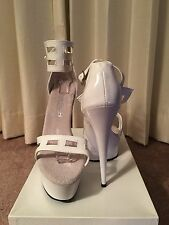 "Tony Shoes Sexy Stripper Platform Pole Dancing 6"" Stiletto High Heels White sz 8"