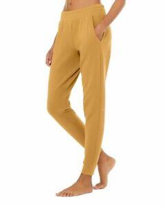 Alo Yoga Unwind Pull On Jogger Sweatpants Mustard Gold Womens L Large