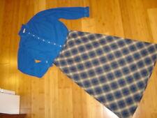Victorian Caroling Hello Dolly 2 pc dress blue blouse plaid skirt M L womens