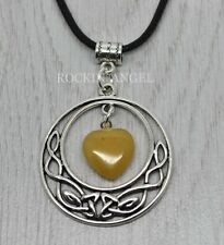 Antique Silver Pl Celtic Pendant Yellow Jasper Heart Necklace Ladies GIft Reiki